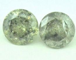 Pair black gold brilliant cut diamonds 0.80ct