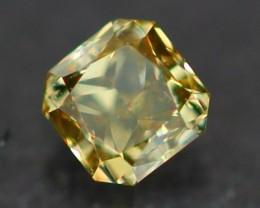 0.10Ct Natural RADIANT CUT Fancy CHAMELEON Color Fancy Diamond