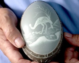 HAND CARVED ABORIGINAL EMU EGG FROM AUSTRALIA