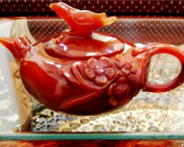 STUNNING AGATE TEAPOT CARVING 2090 CTS GW 1997