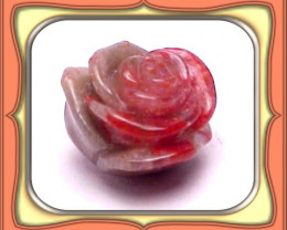CARVING-17.30ct. Fosslized Red Horn Coral Carved Rose