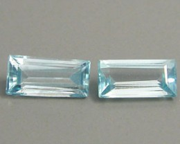 ZIRCON BLUE PAIR 1.30 CARAT WEIGHT BAGUETTE SET OF 2 GEMS NR