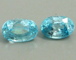 ZIRCON BLUE 1.65 CARAT WEIGHT OVAL CUT GEMSTONES PARCEL -  2