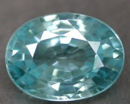 ZIRCON BLUE 1.82 CARAT W. NATURAL OVAL CUT GEMSTONE RARE
