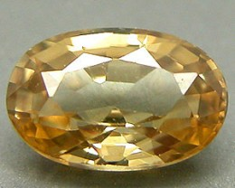 ZIRCON CHAMPAGNE .90 CARAT OVAL STEP CUT GEM RARE NATURAL NR