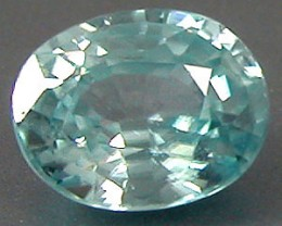 ZIRCON BLUE .95 CARAT W. NATURAL OVAL CUT GEMSTONE RARE