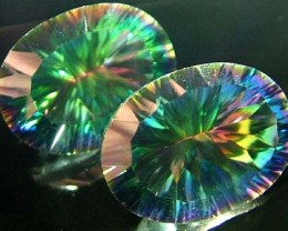 MYSTIC QUARTZ  '' GALAXY'' PAIR VS  17 CTS  [S2754]