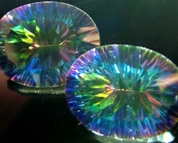 MYSTIC QUARTZ  '' GALAXY'' PAIR VS 16.3 CTS  [S2756]