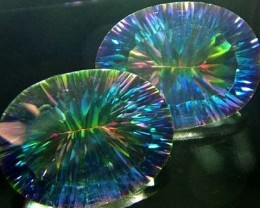MYSTIC QUARTZ  '' GALAXY'' PAIR VS 17.3 CTS  [S2764]