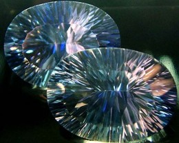 MYSTIC QUARTZ  '' BLUE LAGOON''  PAIR VS 23.6  CTS  [S2787]