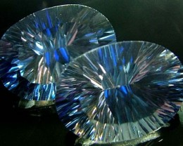 MYSTIC QUARTZ  '' BLUE LAGOON''  PAIR VS 24.5 CTS  [S2788]