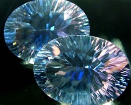 MYSTIC QUARTZ  '' BLUE LAGOON''  PAIR VS 20.8 CTS  [S2790]
