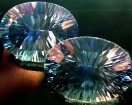 MYSTIC QUARTZ  '' BLUE LAGOON''  PAIR VS 23.1 CTS  [S2791]