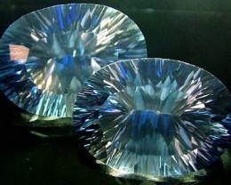MYSTIC QUARTZ  '' BLUE LAGOON''  PAIR VS 23.5 CTS  [S2793]