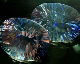 MYSTIC QUARTZ  '' BLUE LAGOON''  PAIR VS  23.6 CTS  [S2796]