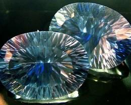 MYSTIC QUARTZ  '' BLUE LAGOON''  PAIR VS 23.1 CTS  [S2801]