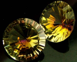 "MYSTIC QUARTZ ''GOLDEN SUNRISE"" PAIR VS 4.7 CTS [S2828]"