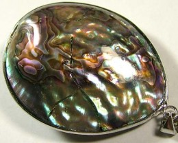 PAUA SHELL PENDANT NATURAL DOUBLE SIDED 36.30 CTS NP-585