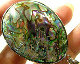 38.90 CTS PAUA SHELL PENDANT NATURAL DOUBLE SIDED  NP-588