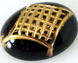 BLACK ONYX 8.30 CTS 24KGOLD ENGRAVED  LG-1008