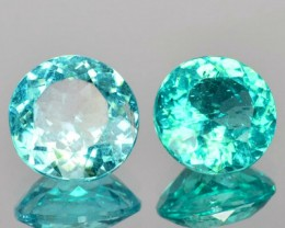 1.75 Cts Natural Neon Blue Apatite 6mm Round Pair NR