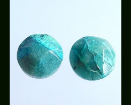 Faceted Chrysocolla Cabochon Pair,15x6 MM