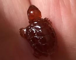 A Truly Cute Carved Orange Spessartite Garnet Turtle Tortoise