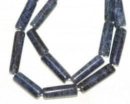 2 STRANDS BLUE AVENTURINE BARREL BEADS - 128 CARATS