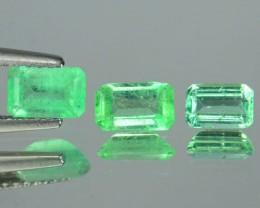 1.15 Cts Nice Quality Natural Transparent Columbian Green Emerald 3 Pcs 1$