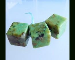 3 pCS Natural Chrysocolla Beads, 102.7Cts