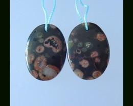Poppy Jasper Oval Earring Bead