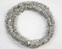 METALLIC SILVER GREY ROUGH DIAMOND STRAND  22.3 CTS SD-115