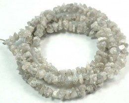 METALLIC SILVER GREY ROUGH DIAMOND STRAND 36.00  CTS SD-116
