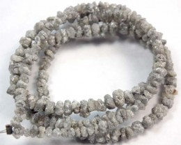 METALLIC SILVER GREY ROUGH DIAMOND STRAND 27.75  CTS SD-117