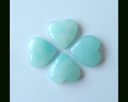 4PCS AMAZONITE HEART SHAPE CAB PARCEL ~