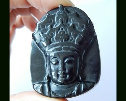 Kind Carving Obsidian Pendant Bead,45x35x11 MM
