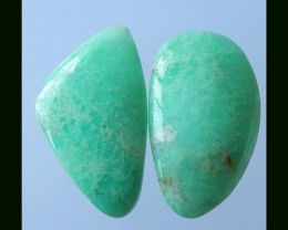 2 PCS Natural Chrysoprase Cabochons