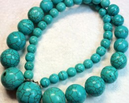 440.8 CTS HOWLITE POLISHED BEADS with Clasp P987