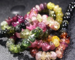 36.8 CTS 4.2 MM TOURMALINE BEADS A GRADE 16 INCHES [ST9500]