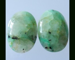 52.4Cts Natural Chrysocolla Cabochon Pair