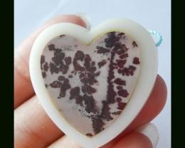 Chohua Jasper ,White Agate Intarsia Gemstone Heart Pendant Bead