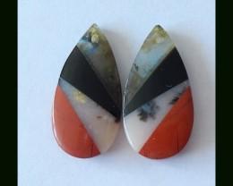 Obsidian,Pink Opal,Red River Jasper ,Labradrite Intarsia Earring Beads