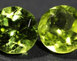 1.4 CTS 6 MM PAIR OF ROUND CUT PERIDOT GEMS (ST9671)