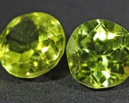 1.75 CTS 6 MM PAIR OF ROUND CUT PERIDOT GEMS (ST9674)