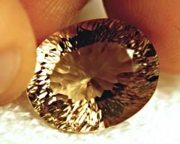 17.80 Carat VVS Concave Cut Golden Topaz