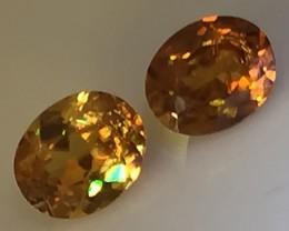 A Pair of Rainbow Spark Sphene Titanite Gems