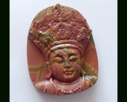 114 Cts Multi Color Picasso Jasper Pendant Bead With King Carving