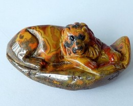 Antique Amazing Pattern! 157 Cts Natural Agate Pendant Bead With Lion Carvi