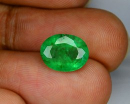 2.62 Cts Untreated Natural Green Emerald Oval Cut  Zambia