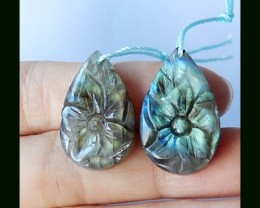 35.5Cts Natural Labradorite Teardrop Earring Bead With Flower Carving